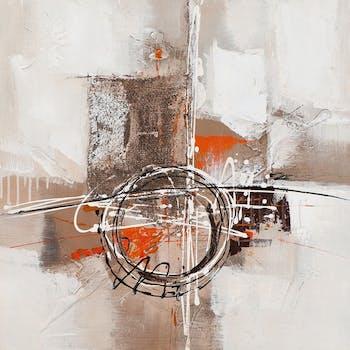 Tableau 60x60 - peinture et feuilles métal - formes abstraites