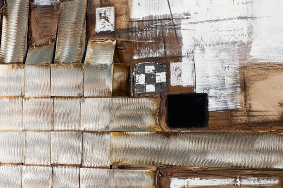ABSTRAIT Toile quadriptyque Doré métal Acrylique 109x80