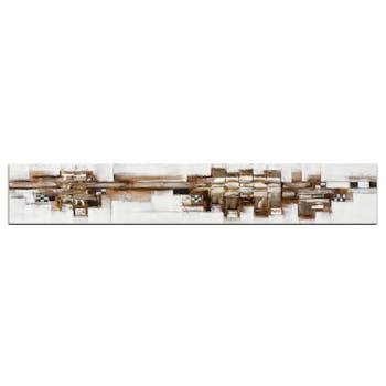 ABSTRAIT Tableau panoramique Doré métal Acrylique 25x150