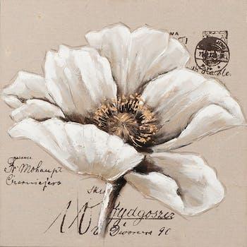 Tableau Fleur 70x70. Doré. Peinture acrylique