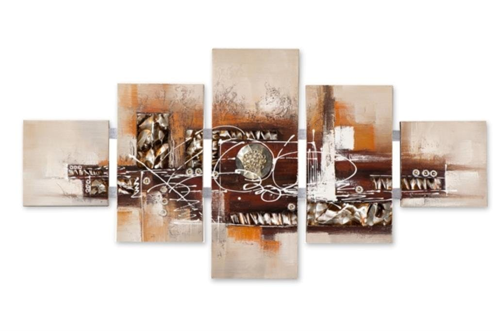 ABSTRAIT 162x80 Tableau quintiptyque acrylique rectangle Beige et Marron