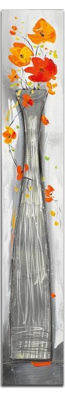 FLEURS Toile Coquelicots verticale Orange Acryl. 25x150