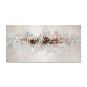 PAYSAGES URBAINS 140x70 Peinture abstraite acrylique rectangle Argent et Beige