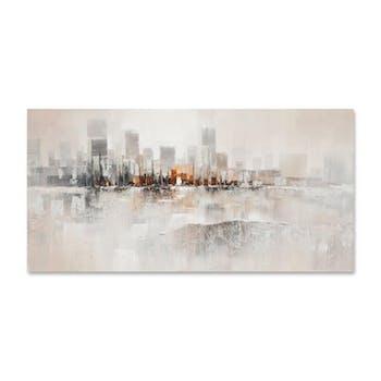PAYSAGES URBAINS 140x70 Peinture abstraite acrylique rectangle Argent et Orange
