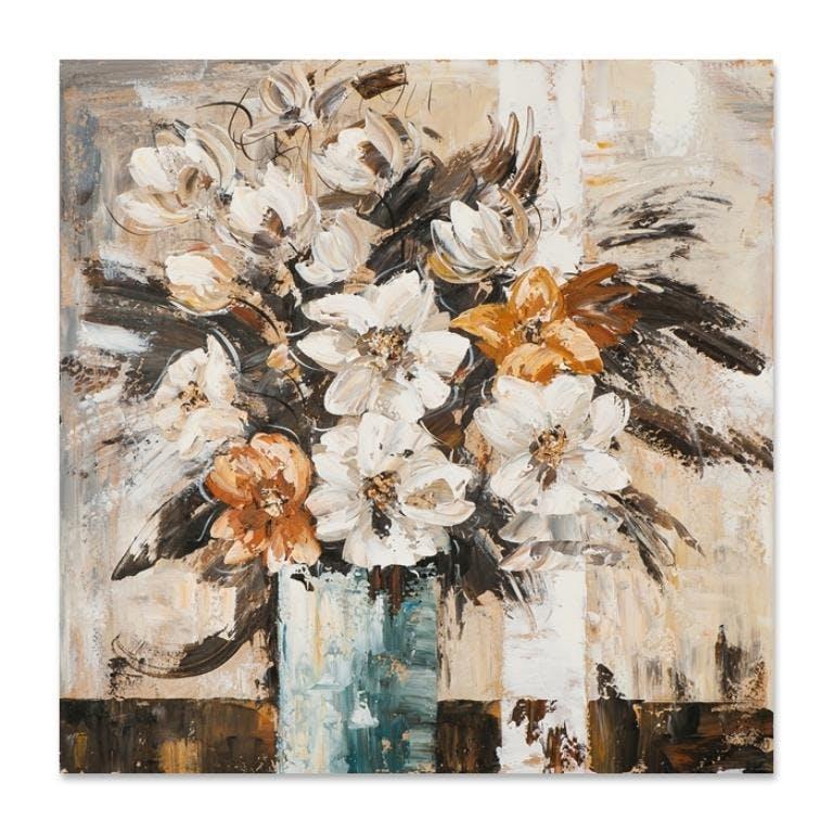FLEURS 40x40 Peinture acrylique carré Beige et Marron