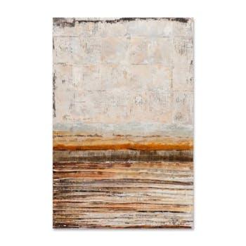 ABSTRAIT 60x90 Peinture acrylique rectangle Beige, Marron et Métal