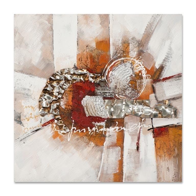 ABSTRAIT 70x70 Peinture acrylique carré Beige, Orange et Métal