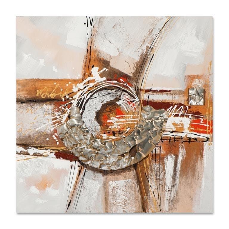 ABSTRAIT 40x40 Peinture acrylique carré Marron et Métal