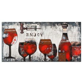 VIN Peinture Nature morte 3D rectangle Rouge Acryl. 140x70