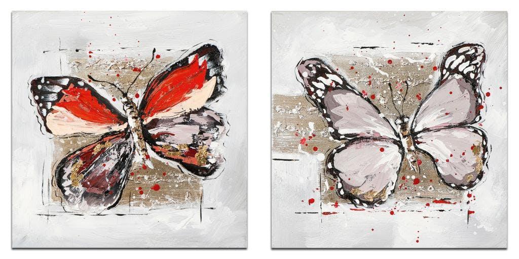 ANIMAUX Minis toiles Figurative (x2) Rouge Acryl. 25x25