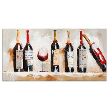 VIN Peinture Nature morte rectangle Rouge Acryl. 120x60