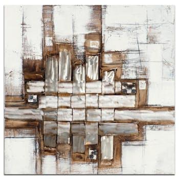 ABSTRAIT Tableau carré Doré marron métal Acryl. 100x100