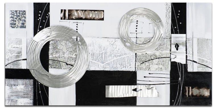 ABSTRAIT Toile rectangulaire Argenté noir Acryl. 140x70