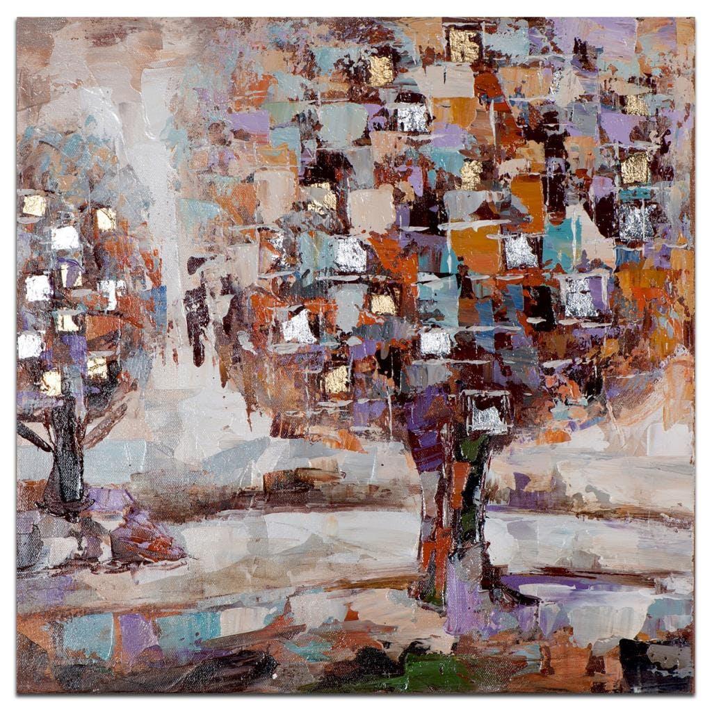 FORETS Peinture Paysage carrée Violet doré Acryl. 40x40