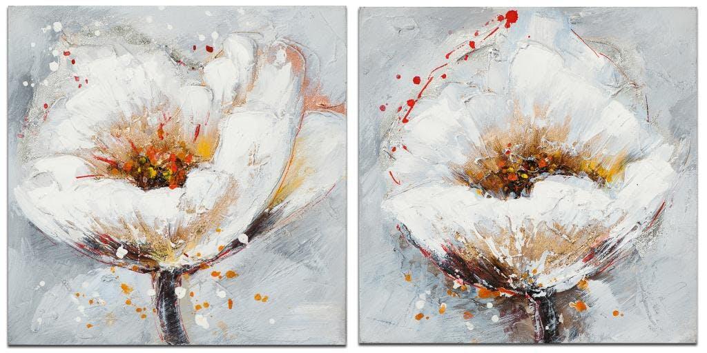 FLEURS Minis toiles Coquelicots (x2) Blanc Acryl. 25x25