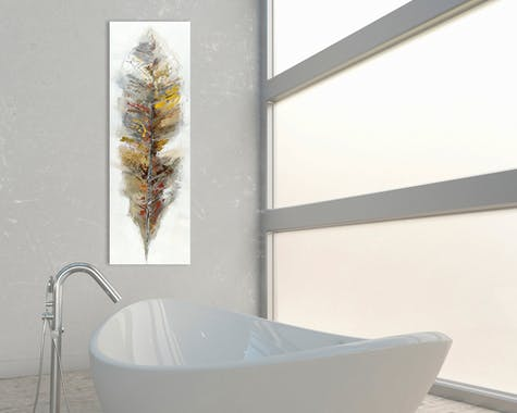 ANIMAUX Tableau acrylique vertical Vert crème Acryl. 50x150 - Plume