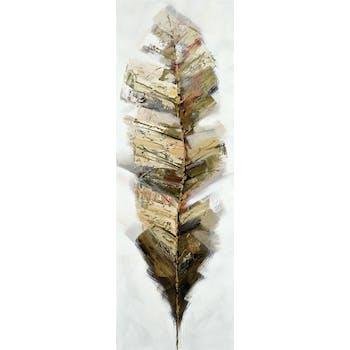 Tableau Plume abstrait 50x150 Argenté. Peinture acrylique et feuilles métal