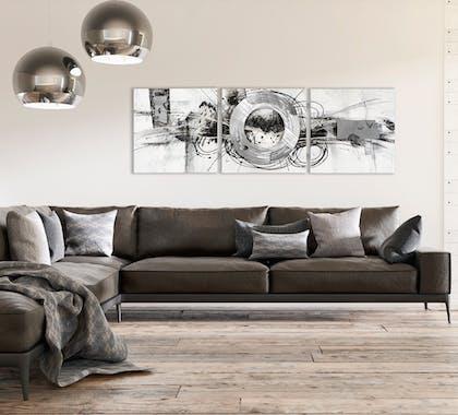 ABSTRAIT Peinture triptyque Argenté noir Acrylique 156x50