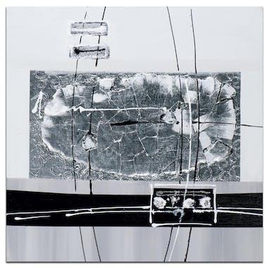 ABSTRAIT Tableau carré Noir argenté métal Acrylique 60x60