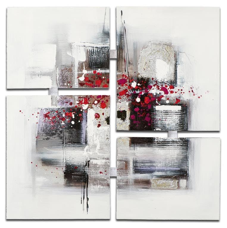 ABSTRAIT Tableau quadriptyque Rouge blanc Acrylique 90x90