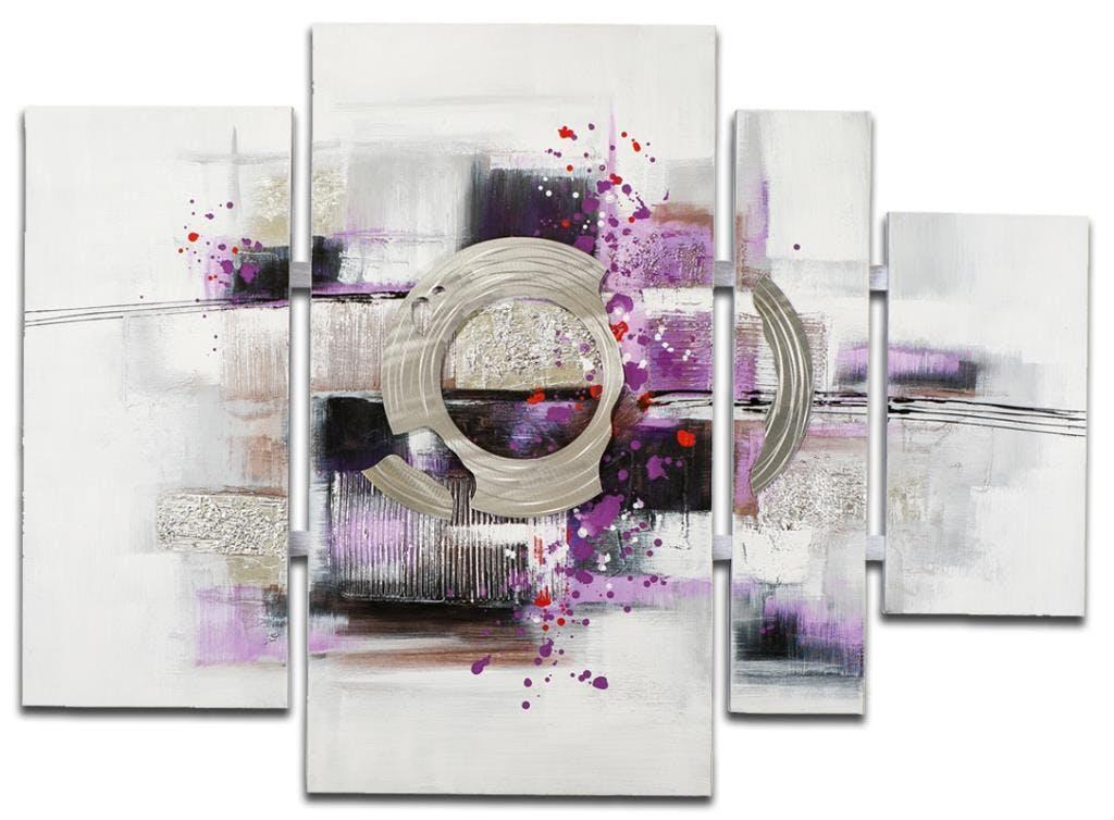 ABSTRAIT Toile quadriptyque Violet métal Acrylique 109x80