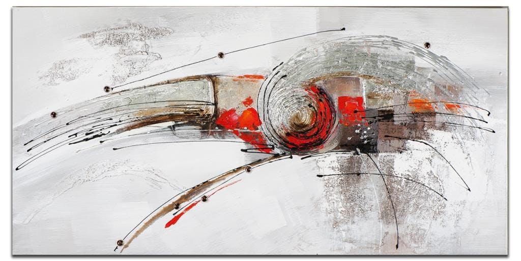 ABSTRAIT Toile rectangulaire Rouge métal Acrylique 140x70
