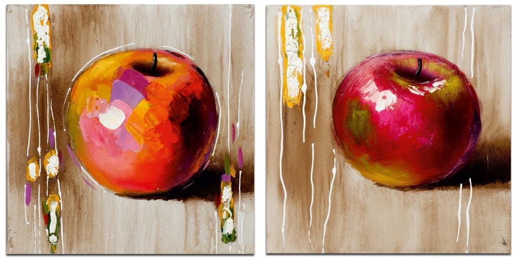 POP-ART Minis toiles Nature morte (x2) Rose Acrylique 25x25