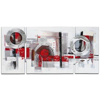 ABSTRAIT Peinture triptyque Rouge métal Acrylique 146x70