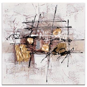 ABSTRAIT Tableau carré Marron doré métal Acrylique 40x40