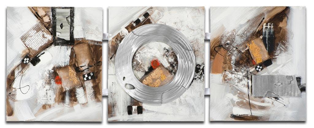 ABSTRAIT Tableau triptyque Marron métal Acrylique 156x60