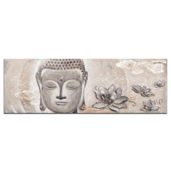BOUDDHA Tableau Zen 3D panoramique Gris Acrylique 160x60