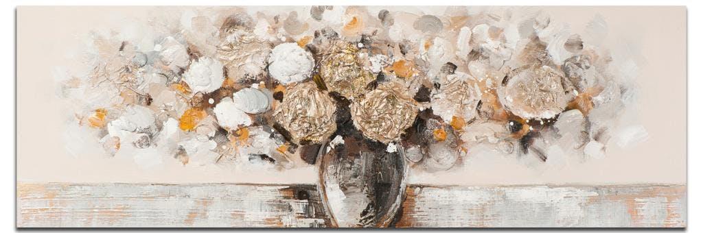 FLEURS Tableau Figuratif panorama Taupe Acrylique 150x50