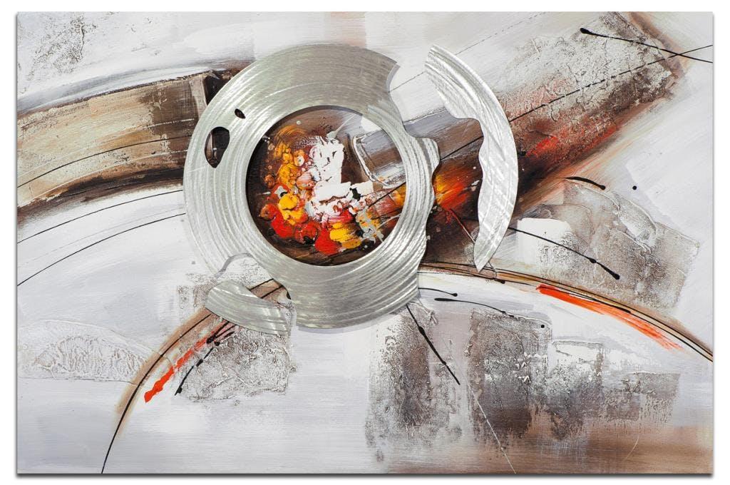 ABSTRAIT Peinture rectangulaire Orange Acrylique 120x80
