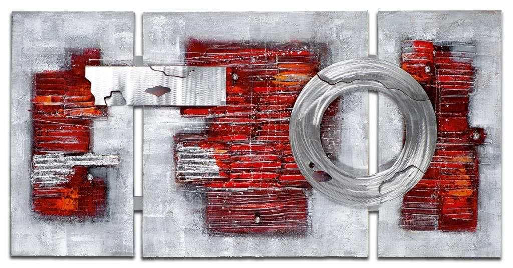 ABSTRAIT Tableau triptyque Rouge métal Acrylique 146x70