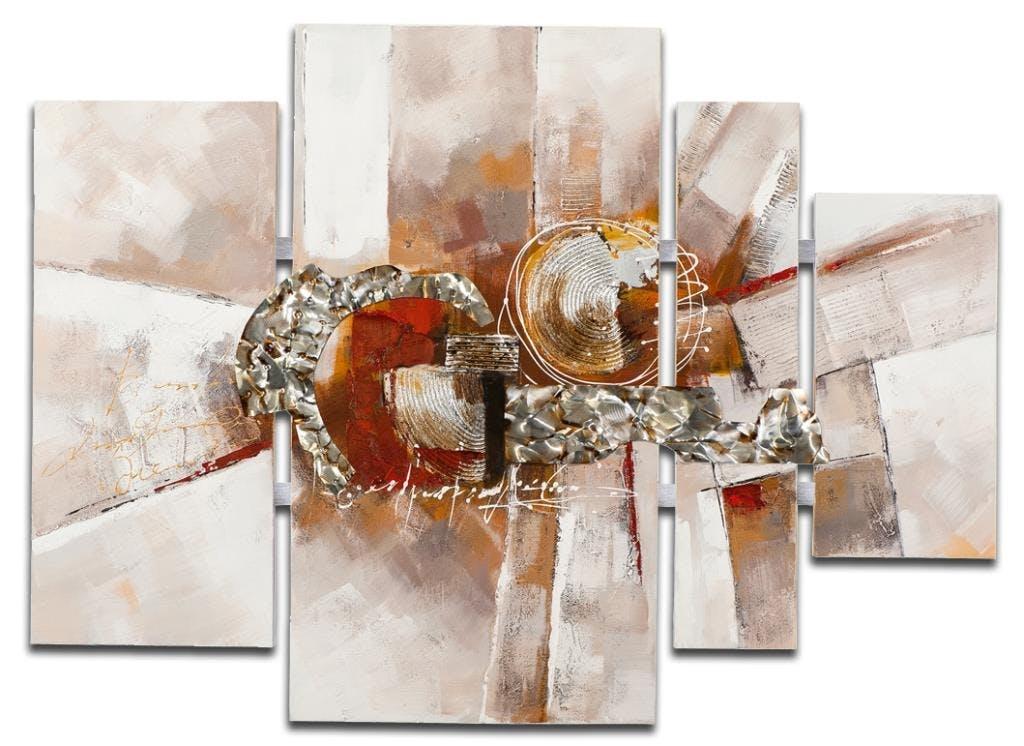 ABSTRAIT Peinture quadriptyque Marron Acrylique 109x80
