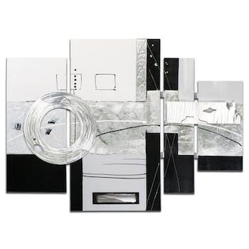 ABSTRAIT Tableau quadriptyque Argenté Acrylique 109x80