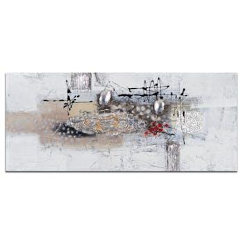 ABSTRAIT Tableau rectangulaire Argenté Acrylique 70x30