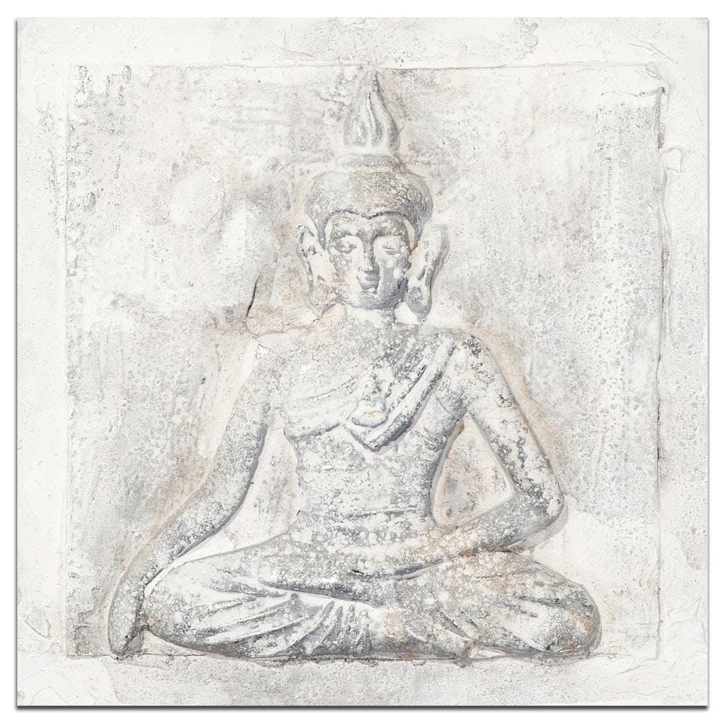 BOUDDHA Tableau Zen relief carré Blanc Acrylique 30x30