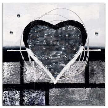 COEUR Tableau Animaux carré Noir métal Acrylique 40x40