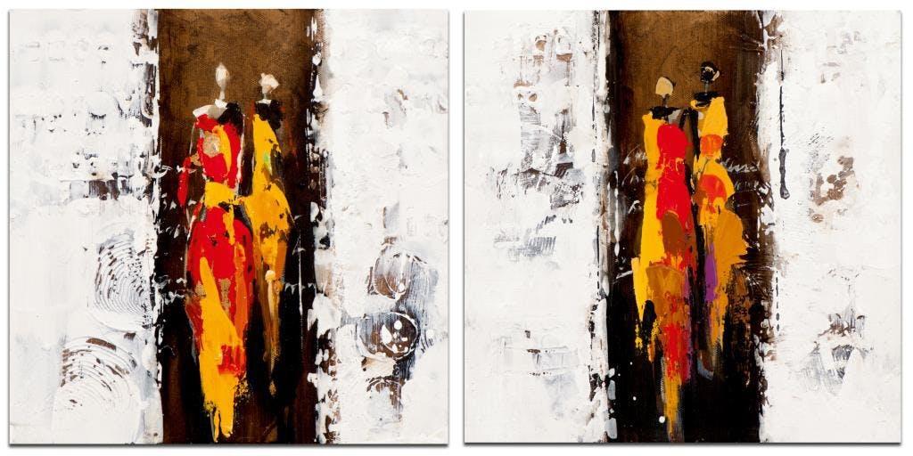 FEMME Minis toiles Africain (x2) Rouge Acrylique 25x25
