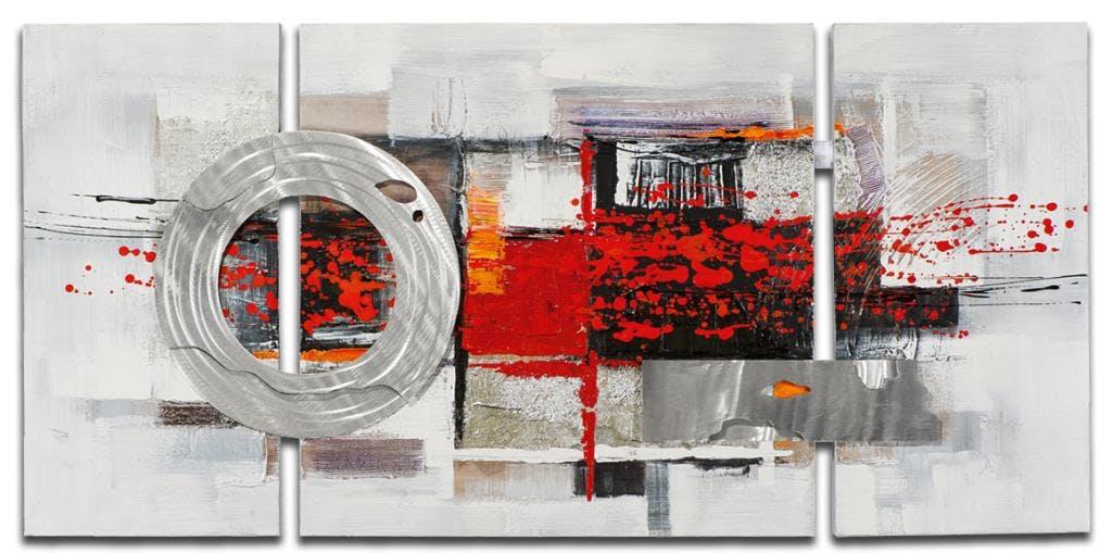 ABSTRAIT Toile triptyque Rouge métal Acrylique 146x70