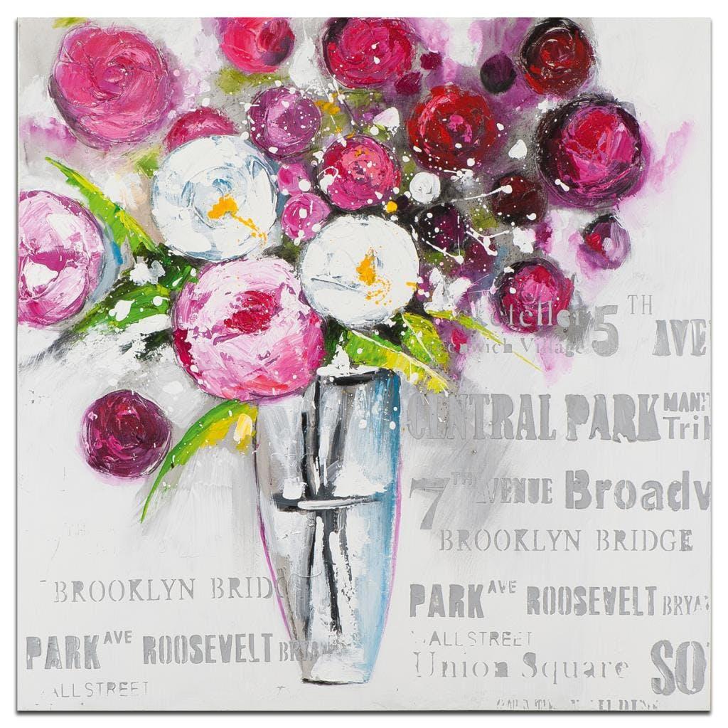 FLEURS Peinture carrée Rose argenté Acrylique 100x100
