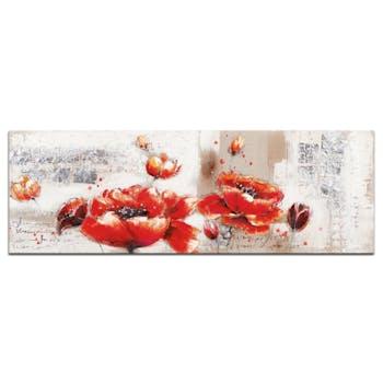 FLEURS Peinture Coquelicots XL Orange Acrylique 90x30