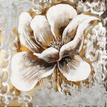 Tableau Fleur 70x70 Argenté Doré. Ajout d'éléments métal en relief. Peinture acrylique