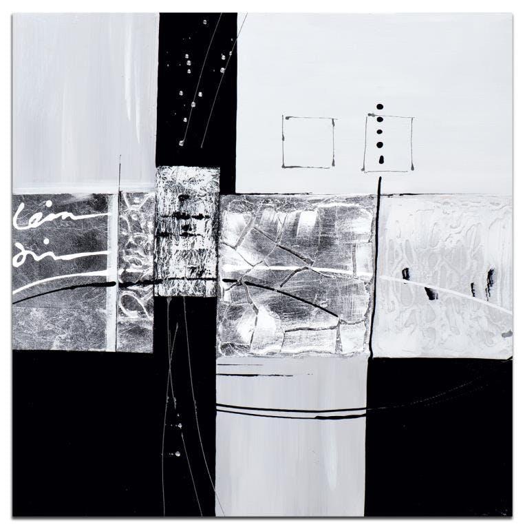 ABSTRAIT Peinture Argenté noir métal Acrylique 60x60