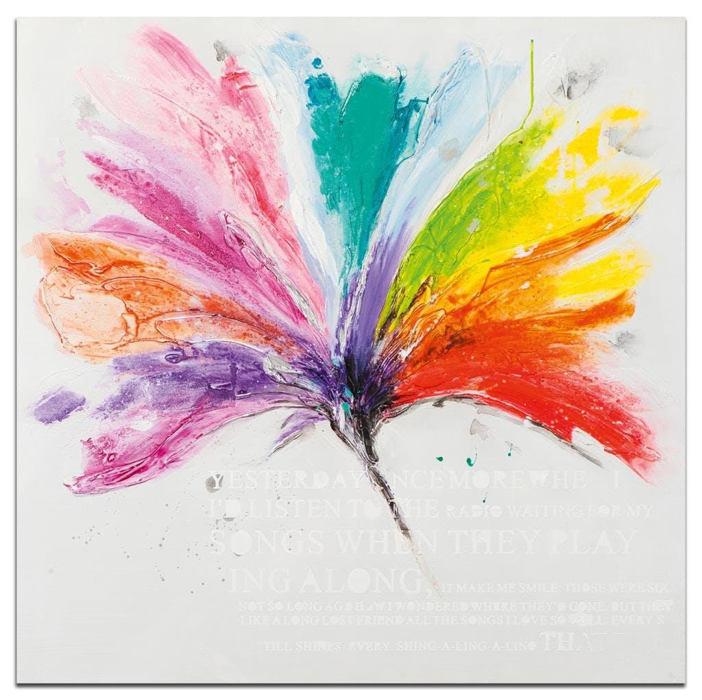 FLEUR Peinture carrée Multicolore Acrylique 100x100