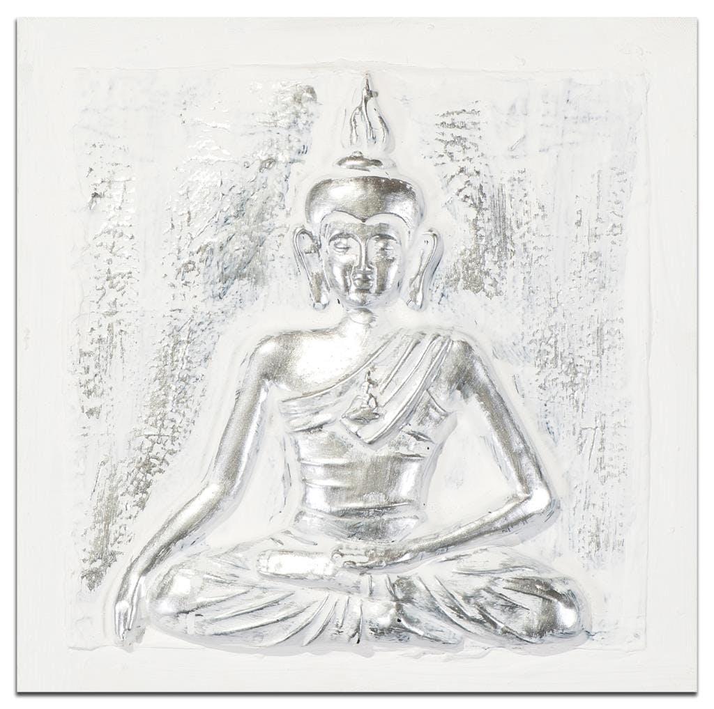 BOUDDHA Tableau Zen 3D carré Blanc Acrylique 30x30