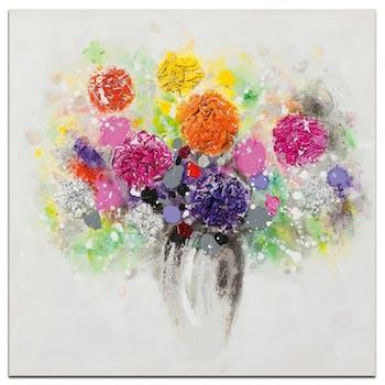 FLEURS Peinture carré Multicolore Acrylique 40x40