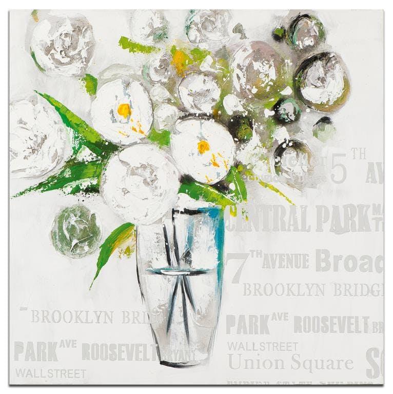 FLEURS Tableau carré Vert blanc Acrylique 100x100