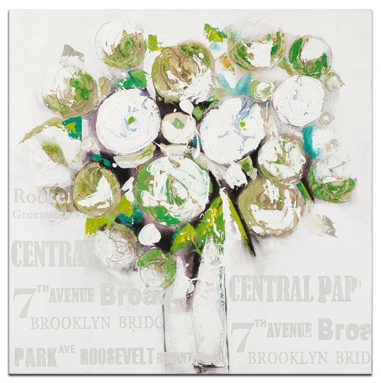 FLEURS Toile carrée Vert blanc Acrylique 100x100